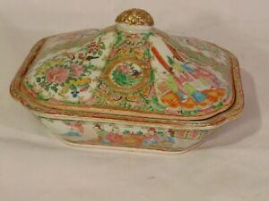 Antique Chinese Rose Medallion Porcelain Covered Serving Bowl