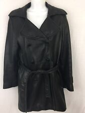 Larry Levine Women's Black Leather Double Breasted Belted Mid Length Jacket Sz S