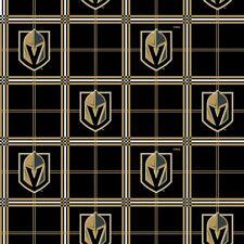 Las Vegas Knights Plaid Flannel Fabric-NHL Cotton Flannel Fabric By the Yard
