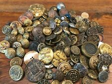 VINTAGE LOT 100  BUTTONS IRON METAL NO BRASS VARIETY OF SHAPES SIZES MILITARY