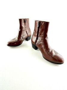 Florsheim Duke 17087-03 Cognac Leather Bicycle Toe Side Zip Boots Mens 9 D