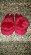 New Victoria Secret Red Slippers Fluffy Pom Pom Faux Fur Size M Slip On Vs
