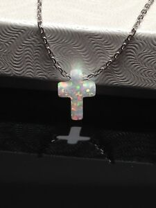 925 Sterling Silver White Opal Cross Pendant Necklace