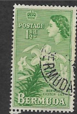 BERMUDA POSTAGE STAMP - USED DEFINITIVE - QE11 LOCAL MOTIVES, LILLIES - 1953