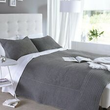 Double Charcoal Grey Embroidered Cotton Embroidered Bedspread & 2 Pillowshams