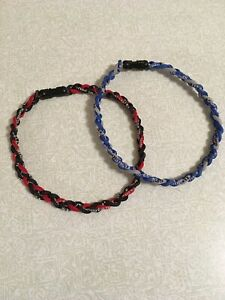 Two Pack sports braided rope necklaces - red/black and blue/gray