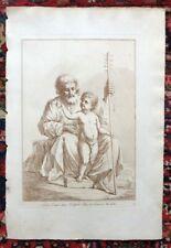 Belle et Grande Eau Forte XIXe - Saint Joseph avec l'enfant Jésus - Le Guerchin