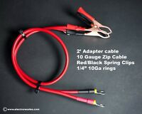"2 Foot adapter cable - 10 gauge - Alligator Clips to Insulated 1/4"" Rings"