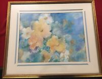 Large Floral Watercolor Painting - Custom Framed - Signed S. Tapley