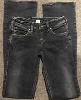 Women's SILVER Jeans Aiko Boot Cut Dark Wash Distressed Low Embroidered 24 X 34
