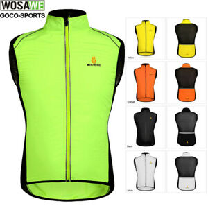 Mens Cycling Vest Windproof Reflective Gilet Sleeveless Soft Shell Wind Coat