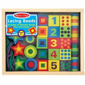 Melissa & Doug Lacing Beads In A Wooden Storage Box, Kids Crafts, Ages 3 Years +
