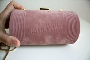 Jean Paul Gaultier Velvet Clutch Bag Pink Blush Gold Chain