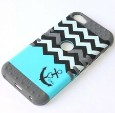 iPod Touch 5th 6th Gen - HARD & SOFT RUBBER HYBRID CASE BLUE GRAY CHEVRON ANCHOR