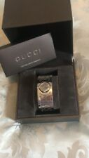 Genuine Woman's Gucci Swiss Twirl watch in silver with box and details