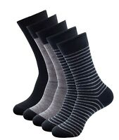 Men Cotton Dress Socks 5 Pack Business Casual Thin Crew Sock Black Grey Assorted