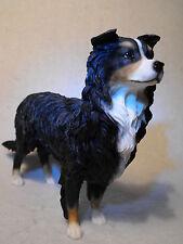 BORDER COLLIE DOG FIGURINE ORNAMENT FIGURE TRI /  BLACK AND WHITE SHEEPDOG GIFT