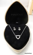 AUTHENTIC PANDORA NECKLACE EARRINGS GIFT HEARTS OF PANDORA #590534CZ, 290553CZ