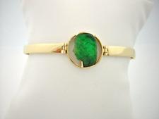 Colombian Emerald 18K Gold Carved Jesus Bangle Bracelet 1.83 Cts 7 1/2- 8 Fine J