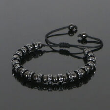 2017 Luxury Anil Arjandas Macrame Bracelet Rhodium Plated Beads & Stoppers Men