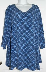 Very Nice Blue Print Catherines 3/4 Sleeve Top - 2X