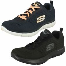 Ladies Black/Blue Lace Up Light Weight Air-Cooled Skechers Break Free 12757