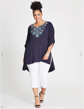 Autograph Ladies Embroided Tunic Top sizes 14 16 18 20 22 Colour Navy