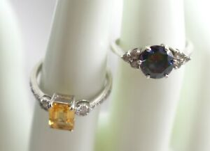 Lot of 2 Sterling Silver Rings - Citrine & Mystic Topaz Stones - Both Size 7
