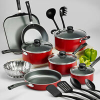 Red Cookware Set 18 Piece Pots Pans Non Stick Cooking Aluminum Professional Kit