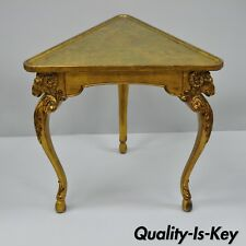 Vtg Gold Italian Regency French Style Rams Head Hoof Foot Triangular Side Table