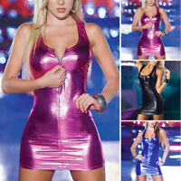 Ladies Dress Party Leather Wet Look Dress Fashion Club Wear Mini Lingerie
