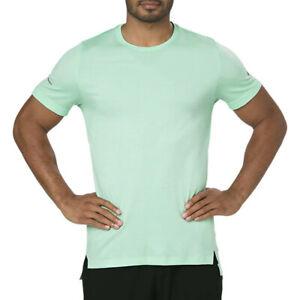 Asics Mens Seamless Running T Shirt Tee Top Green Sports Breathable Lightweight