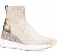 NIB Size 5.5 Michael Kors Skyler Sneaker Booties Ecru Pale Gold Rhinestones