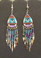 Southwest Design Dangle Earrings Teardrop Shape With Beads Turquoise and Purple