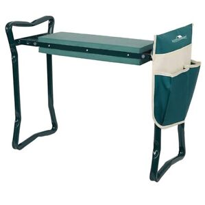Garden Bench And Kneeler Stools Gardening With Side Bag Pockets For Tools Green