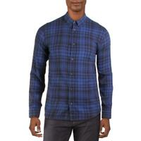 Levi's Mens Blue Flannel Plaid Collared Button-Down Shirt XL BHFO 6121