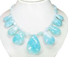 Außergewöhnlich Luxus Halskette aus Edelsteinen Aquamarin mit Sieben Anhängern