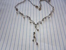 PRETTY SILVER TONE CRYSTAL SET ACCESORIZE Y SHAPED NECKLACE