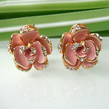 Navachi Flower Rose Pink Enamel 18K GP Crystal Omega Earrings BH2225