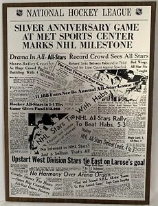 NHL Silver Anniversary Game At Met Sports Center Plaque,All-Stars, 1970's, 21x15