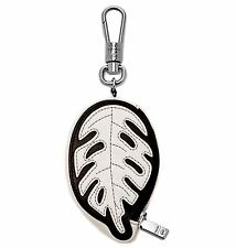 Fossil Opening Ceremony Black/White Leather Coin Case Carabiner Key Fob NWT $48