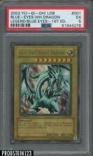 2002 Yugioh LOB-001 Blue-Eyes White Dragon 1st Edition Ultra Rare PSA 5 EX-MT