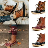 ❤️ Women's Ladies Duck Boots Lace UP Waterproof Hiking Walking Hiker Ankle Shoes