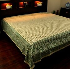 Block Print Tapestry Wall Hanging Cotton Floral Tablecloth Bedspread Green Twin