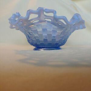 "FENTON Glass Basket Weave Ruffled Pierced Bowl Dish Opalescent Blue 7"" Diameter"