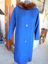Ladies RETRO Vintage BERKSHIRE MINK COLLAR WOOL COAT 1940s med COBALT BLUE