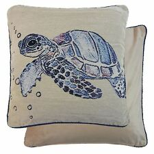 Relleno Océano Sea Turtle Tapicería Terciopelo Azul Negro 45.7cm - Cojín de 45cm