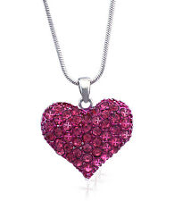 Hot Pink Heart Pendant Necklace Valentine's Day Birthday Jewelry GIFT BOX