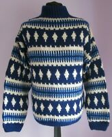 VTG Mens Unbranded Blue/Cream Nordic Style Jumper Size Small/Medium (A4)