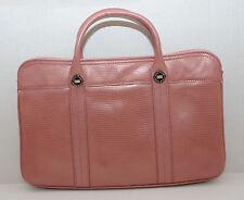 Cole Haan Crocodile Embossed Leather Handbag Medium Tote Purse Satchel PINK MINT